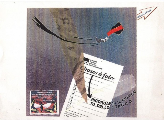 """Quei de le ale"" (""Those with wings""), collage, cm. 19x19, 1998 - WOODNS"