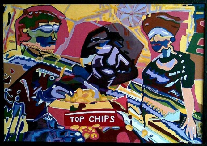 Eating Chips 2008 / Acrylate 138 cm X 94cm / - WOODNS