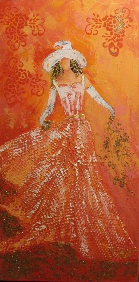 Miss Clara 12 X 24 (die Fee rosa und orange) - WOODNS