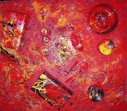 Red passion - Kunststoffe, Metalle 60 x 50 cm -2008 - WOODNS