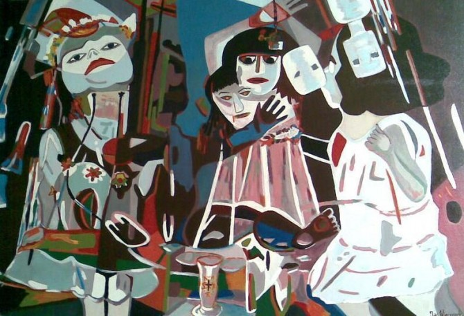 Dolls behind the altar 2009 Acrylate 138 cm X 94cm - WOODNS