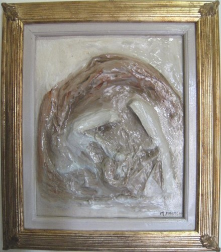 Holy Family - mixed media on canvas in relief - WOODNS
