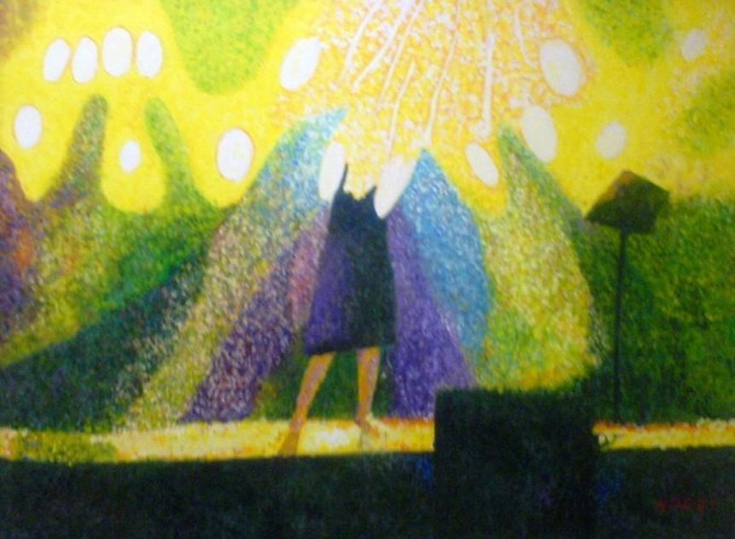 LUCI DI MUSICA (CONCERT OF NATURE) Acrylic on canvas 80 x 60 cm framed 2010 - WOODNS