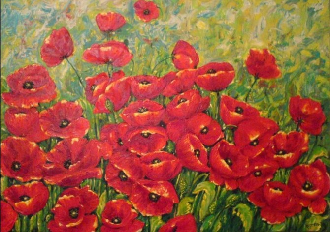 Field of Poppies Acrylic on canvas 50x70 Framed - WOODNS