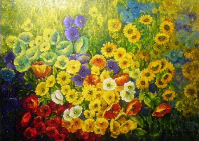 Field of Flowers Acrylic on canvas 50x70 Framed 2009 - WOODNS