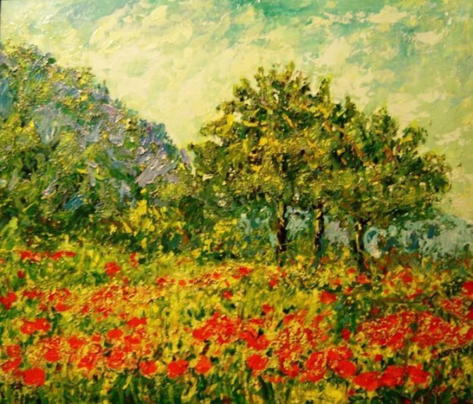 Poppies on Lake Garda Acrylic on canvas 60 x 70 Framed 2010 - WOODNS