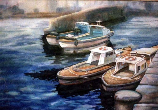 Muelle Santa Catalina , watercolor 50x70 cm - WOODNS
