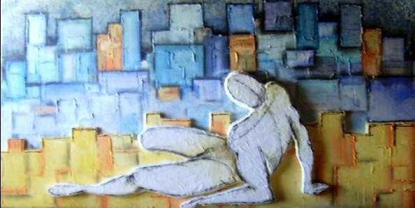 Resistance to solitude 150 x 80cms, Relief - WOODNS