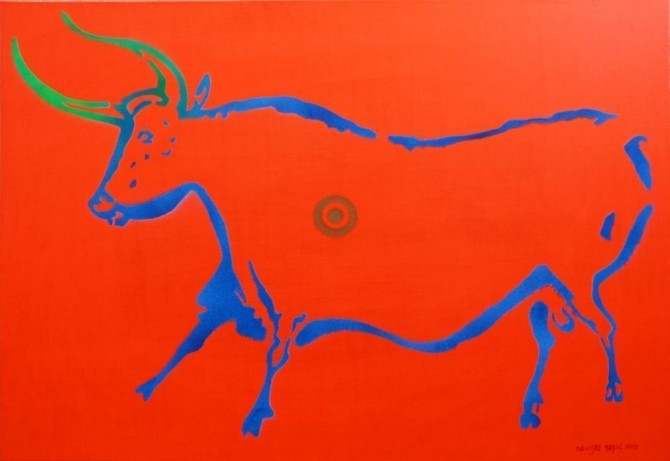 Cow from Lascaux (version II) 70x100 cm, acrylic and spray on canvas - WOODNS