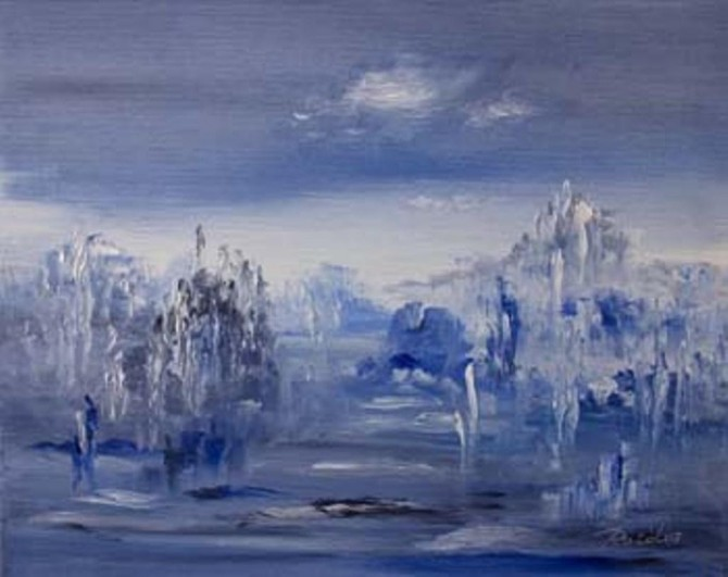 """The Blue on the Fog"" -  oil on canvas 50 x 40cm  (2007) - WOODNS"
