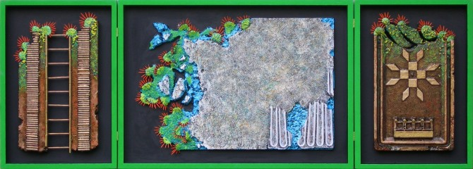 NATURE AND FIREWORKS. Inches. 62 x 166Polimaterico on wood. 2011 - WOODNS